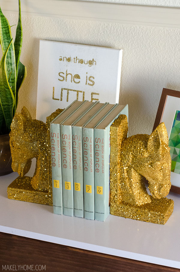 Thrift store horse bookends upstyled with gold glitter.
