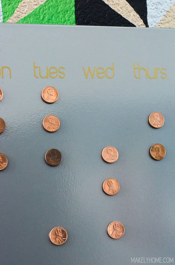 """Make a Change"" Chore Chart for kids - use pennies as magnets to mark completed chores"