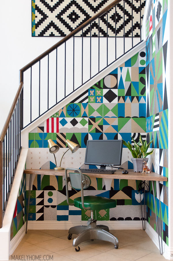 Hand painted Mary Blair inspired feature wall via MakelyHom