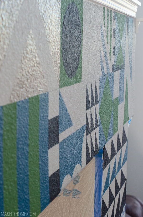 Hand painted Mary Blair inspired feature wall via MakelyHome.com