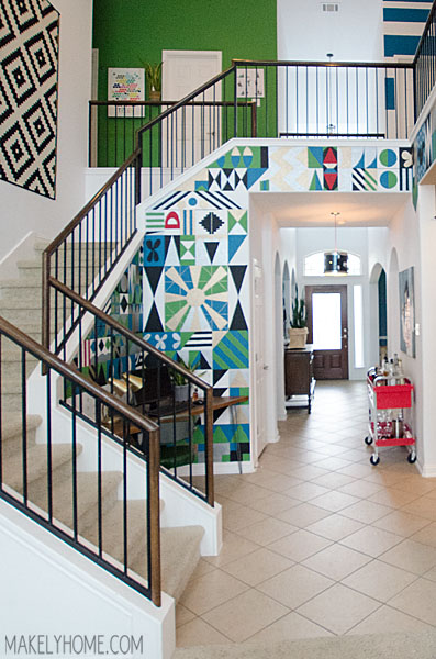 Staircase landing makeover #AtHomeFinds